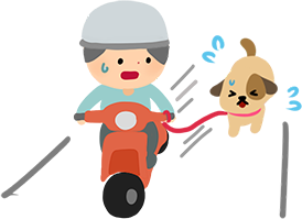 騎機車遛狗