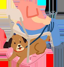 把牽繩繫在大腿,隨時注意狗狗狀況