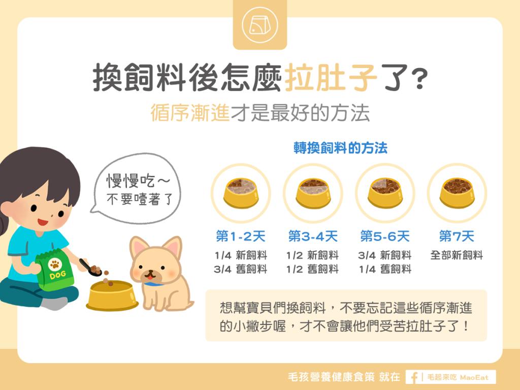 狗狗換飼料拉肚子軟便換食注意事項循序漸進技巧