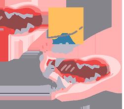 牙刷沾專用牙膏,輕輕摩擦牙齒和牙齦交界處