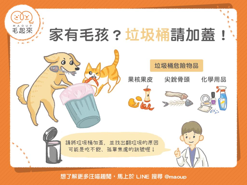 【汪喵餵養知識】家有貓貓狗狗愛翻垃圾?垃圾桶請加蓋!