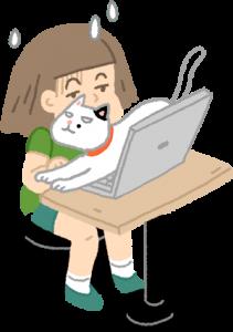 貓跳上電腦打擾工作